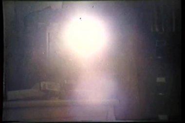 Man walking with flashlight — Stock Video