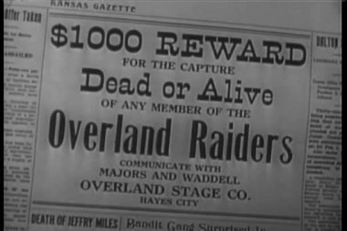 Close-up of Wanted Dead Or Alive headline — Vídeo Stock