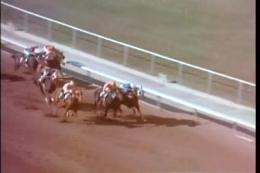 Horse taking the lead during horse race — Stockvideo