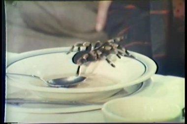 člověk klepal tarantule z tabulky a dupání na něm — Stock video