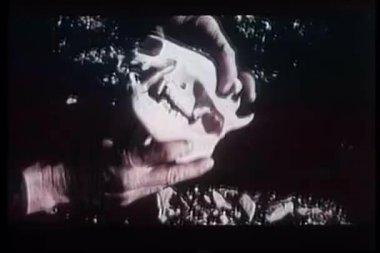 макро руки, держа джавелина череп — Стоковое видео
