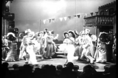 Dancers in costumes performing on stage — Stock Video