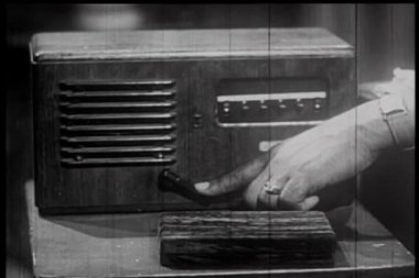 Close-up of man pushing handle of old-fashioned intercom system — Stock Video