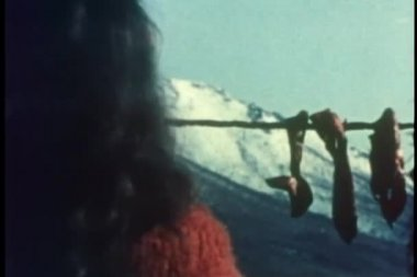 Rear view of woman hanging strips of caribou meat to dry — Stock Video