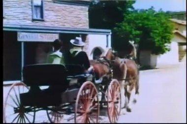 Widok z tyłu przewozu koni, mijając sklep — Wideo stockowe