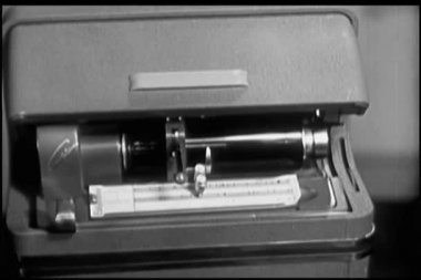 Close-up of 1940s audio recording device — Stock Video