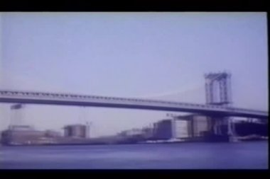 View of Brooklyn and Manhattan bridges — Video Stock