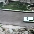 Aerial view cars driving on steep turn — Vídeo de stock