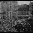 Historical reenactment World War I high angle view soldiers marching through city — Stock Video