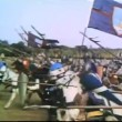 Wide shot medieval soldiers on horseback galloping into battle — Wideo stockowe #26664279