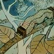 Cartoon of accordian inchworm crawling on tree — Vidéo