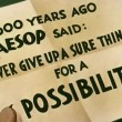 Close-up of paper with Aesop''s advice written on it — Vídeo Stock