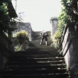 Shoot out on outdoor staircase — Vídeo de stock