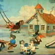 Stock Video: Wide shot children playing in front of schoolhouse