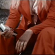 Woman holding transistor radio — Stock Video