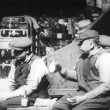 Workers eating lunch outdoors, New York City, 1930s — Stockvideo