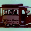 Cartoon of trolley with moving tracks — Stock Video