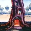 Cartoon of tree house — Stock Video