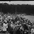 Spectators watching sports car race — Stock Video