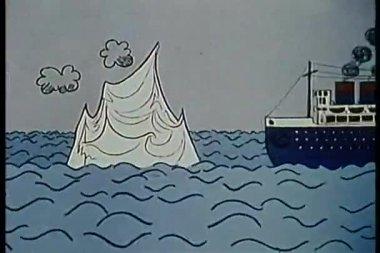 船撞冰山沉没 — 图库视频影像