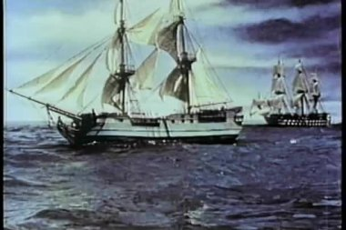 Two 19th century ships at sea — Stock Video