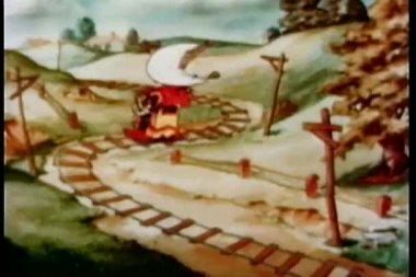 Desenhos animados de tornado perseguindo o trem através de terras agrícolas — Vídeo Stock