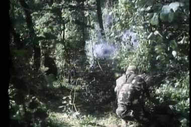 Guerilla warfare in jungle — Stock Video