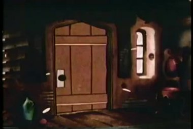 Cartoon of tornado bursting through door into house — Stock Video