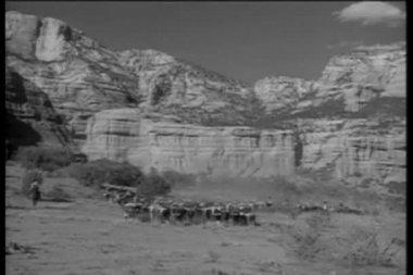 Long shot of cowboys herding cattle through desert canyon — Stock Video