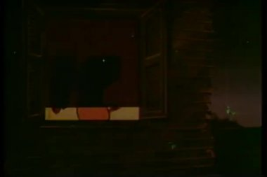 Animated silhouette of pig getting dressed behind window shade — Stock Video
