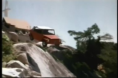 Car falling off cliff