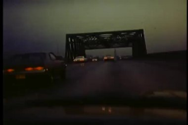 View from car driving over bridge — Stock Video