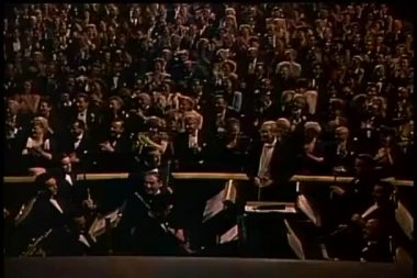 Wide shot audience applauding in theater — Stock Video