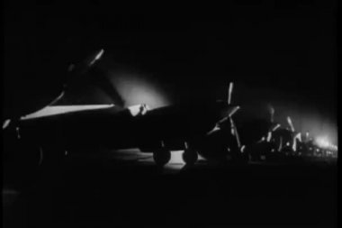 1940s military planes preparing for takeoff — Stock Video