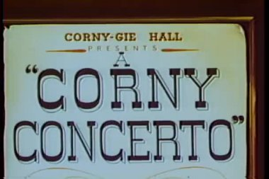 Cartoon of Corny Concerto sign — Stock Video