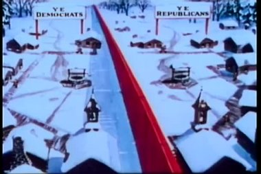 Cartoon of divided village of democrats and republicans — Stock Video