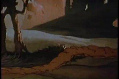 Cartoon of gopher burrowing underground — Stock Video