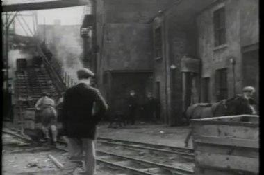 Rear view of men working in coal mine — Stock Video
