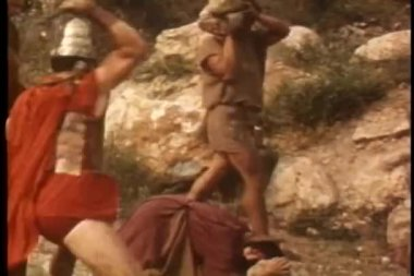 Soldier whipping woman — Stock Video