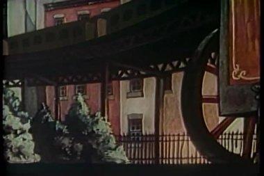 Cartone animato di agente di polizia, a pochi passi dal treno della metropolitana sopraelevata — Video Stock