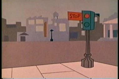 Cartoon of cops in police cruiser stopping at traffic light — Stock Video