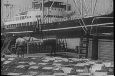 Men unloading cargo from ship — Stock Video