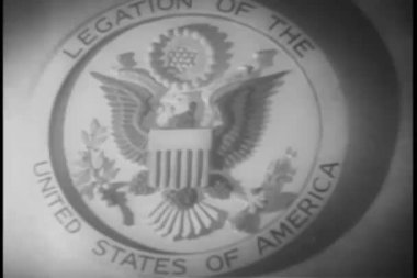 Close-up emblem of legislation of the United States of America — Stock Video