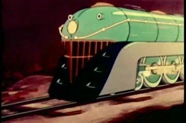 çizgi film yeşil trenin uyarı üfleme — Stok video
