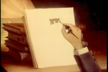 Close-up hand drawing a flute playing hippo — Stock Video