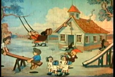 Wide shot children playing in front of schoolhouse — Stock Video