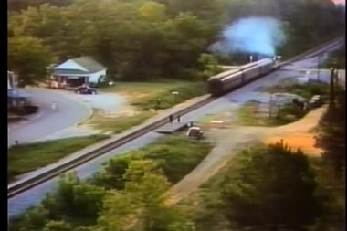Rear view of train traveling through country side — Stock Video