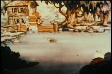 在池塘中游泳的鸭子家族 — 图库视频影像