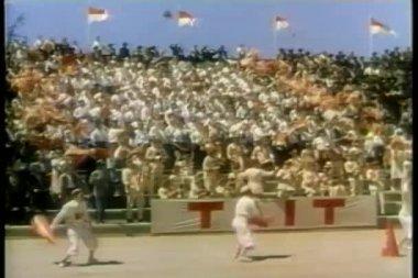 In bleachers cheering — Stock Video