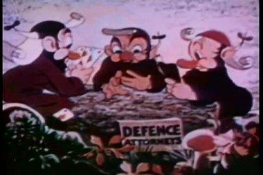 Rotnasige männer spielkarte spiel — Stockvideo